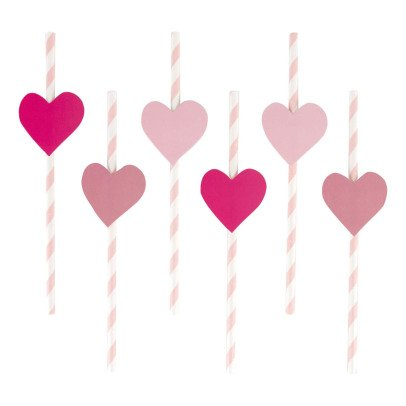 My Little Day Heart Paper Straws - Set of 12-listing