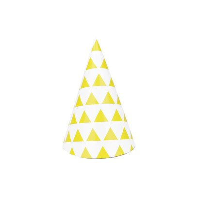 My Little Day Yellow triangles Party hats - set of 8-listing