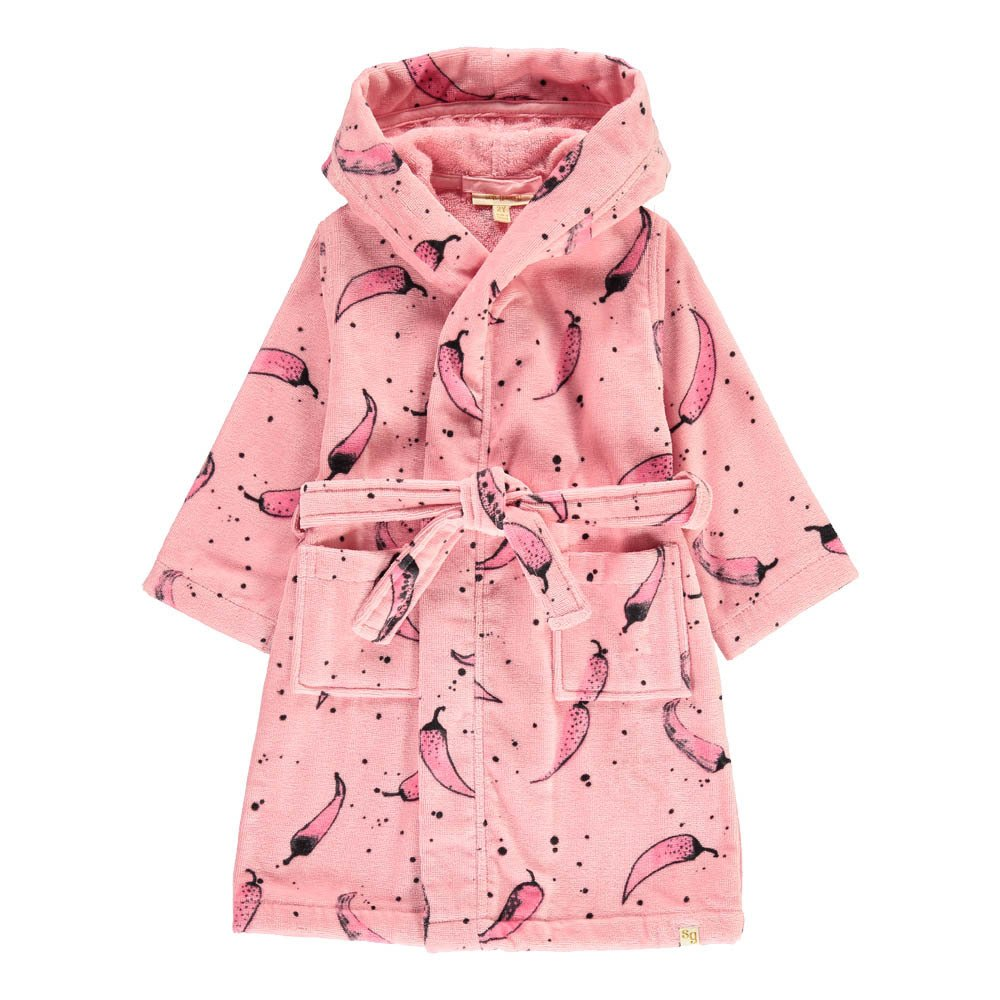 Hooded Dressing Gown Pink Soft Gallery Fashion Children