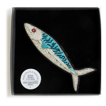 Macon & Lesquoy Hand Embroidered Sardine Brooch-listing