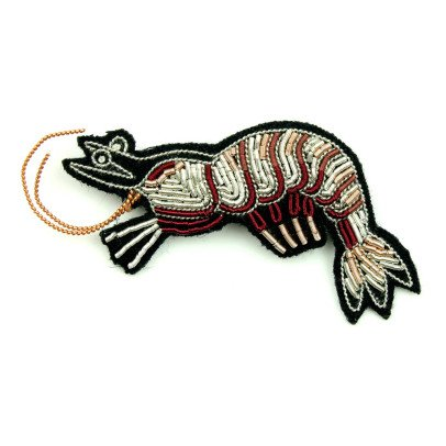Macon & Lesquoy Hand Embroidered Crayfish Brooch-listing