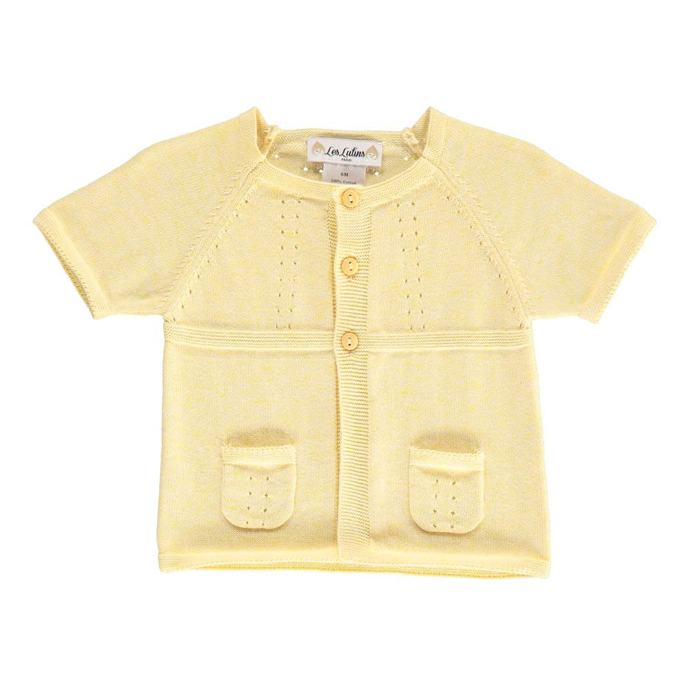 Eva Short Sleeve Cardigan Pale yellow Les lutins Fashion Baby