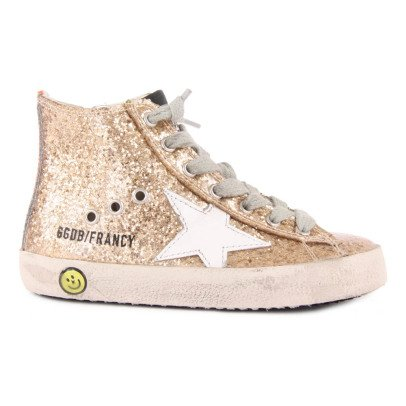 Golden Goose Francy Glitter Zip and Lace-Up Trainers-listing
