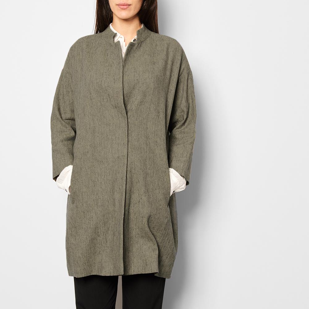 Manteau coton et lin oversize gris pomand re mode adulte - Gris et lin ...