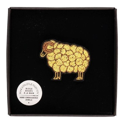 Macon & Lesquoy Sheep Embroidered Brooch-listing