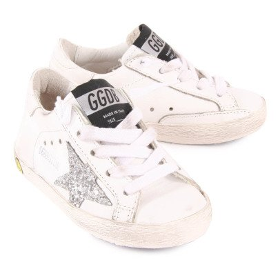 Golden Goose Baskets Basses Cuir Etoile Pailletée Argent Superstar-listing
