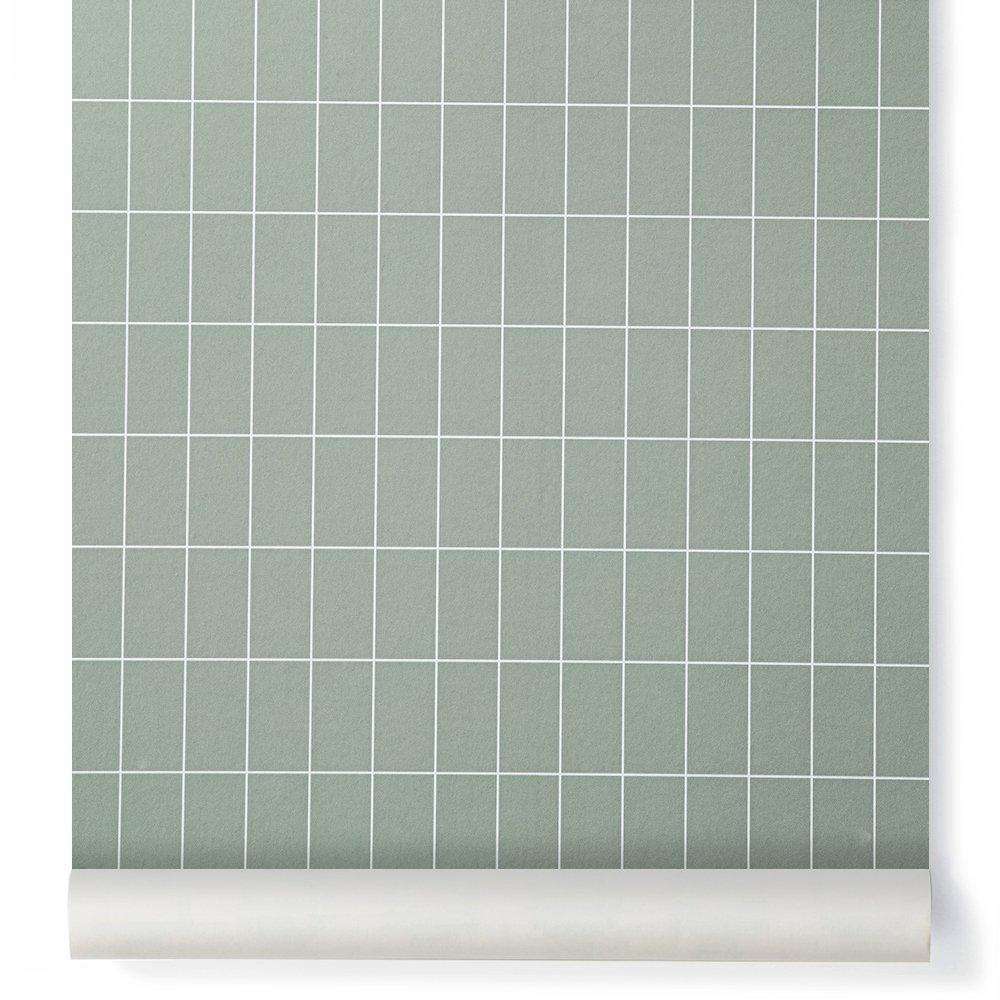 Papier peint grid carreaux vert ferm living design adulte for Papier peint carreaux