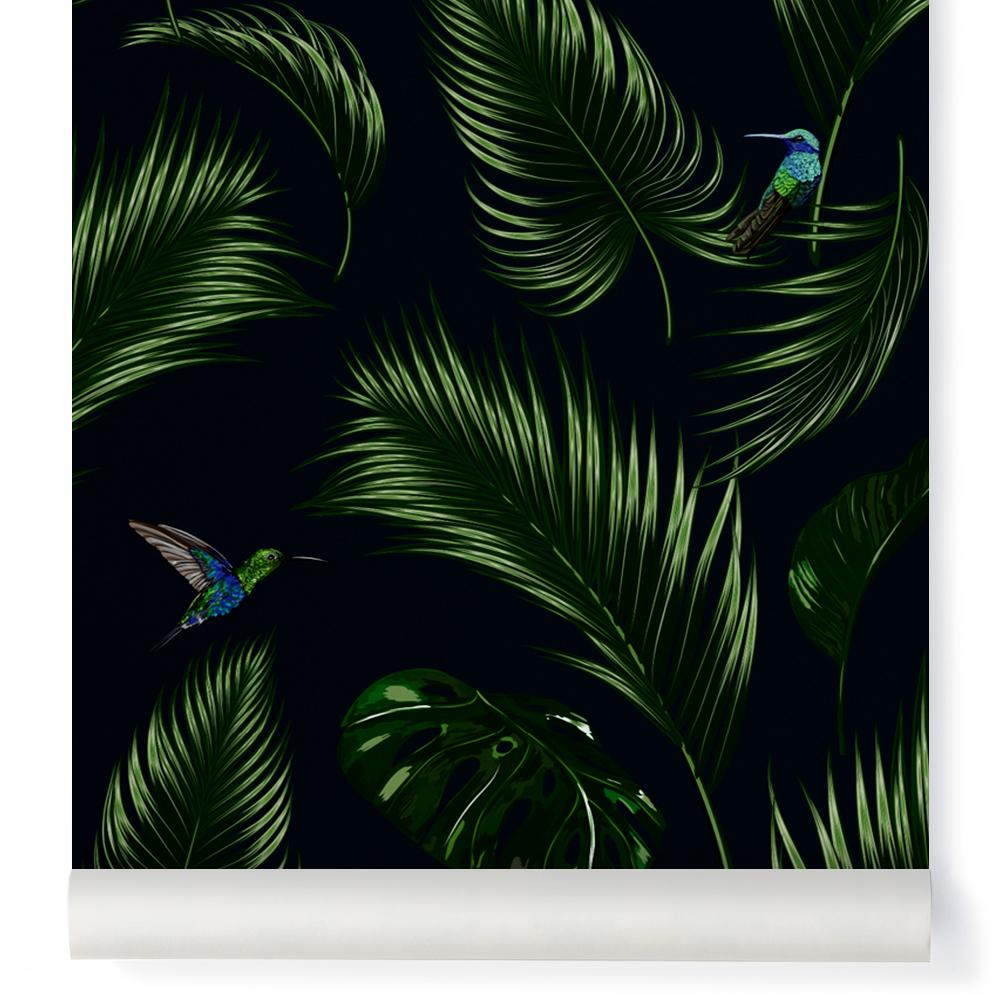 tapete dschungel traditional petroleumblau papermint design kind, Wohnzimmer dekoo