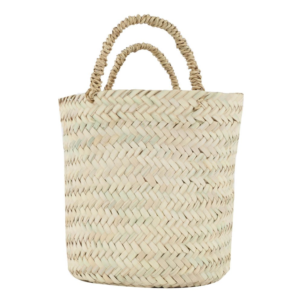 Flat Round Woven Palm Leaf Basket-product