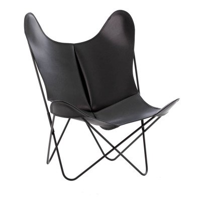 Airborne AA Steel Varnished Armchair, Smooth Leather Outdoor Cover-listing