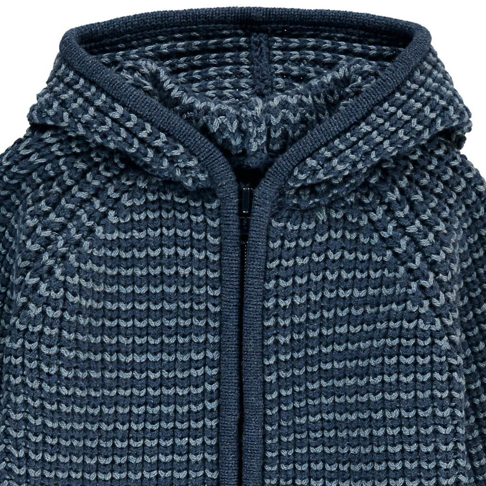 Cotton & Merino Wool Hooded Cardigan Navy blue Lab - La Petite
