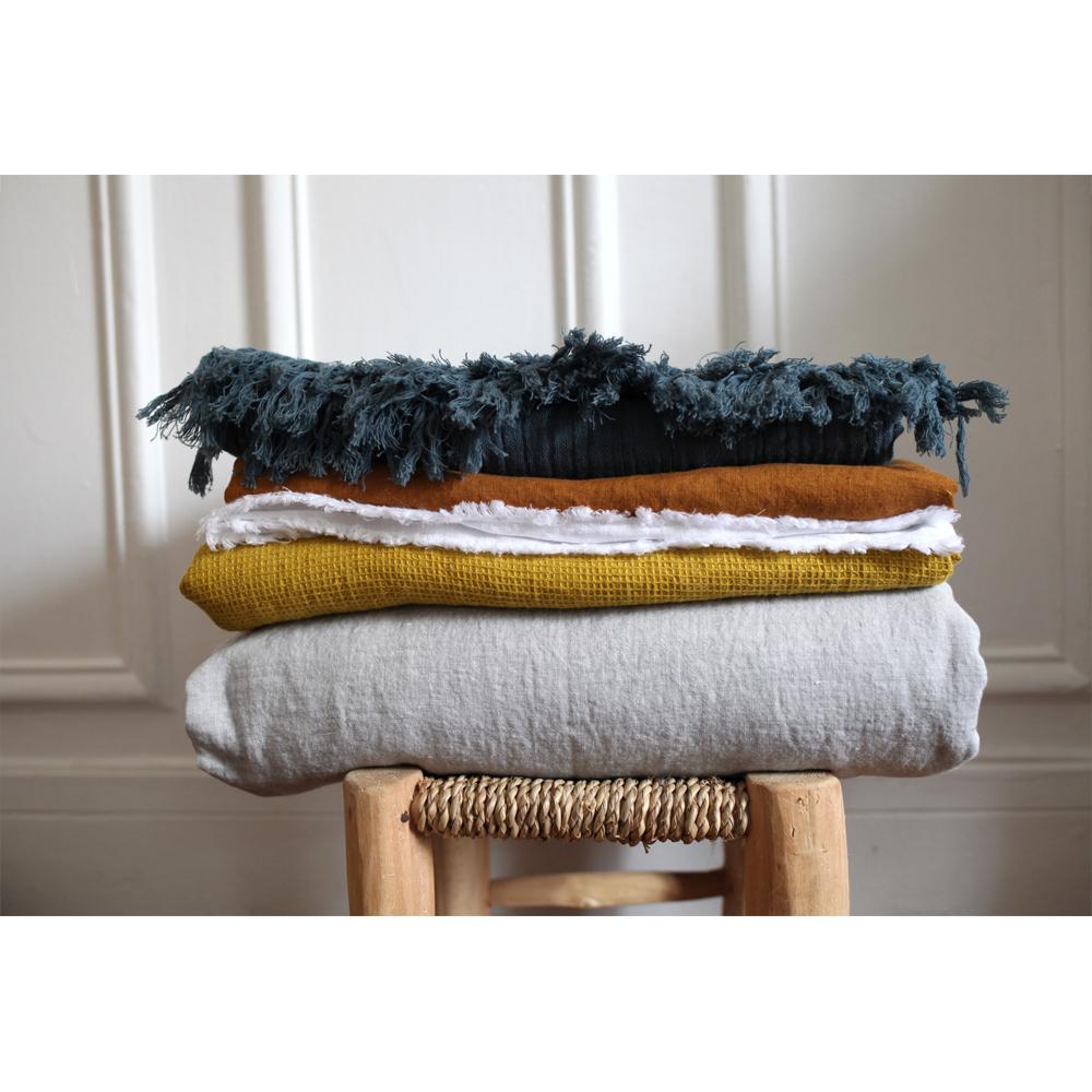 drap de bain nid d 39 abeille en lin lav 90x160 cm gris orage. Black Bedroom Furniture Sets. Home Design Ideas