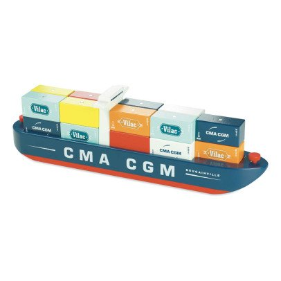 Vilac Cargo Ship With Wooden Magentic Cubes-listing
