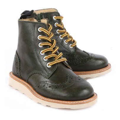 Young Soles Signey Zipped Lace-Up Leather Ankle Boots-listing