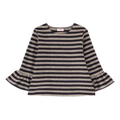 Il Gufo Fluted Sleeve Stripe T-Shirt-listing
