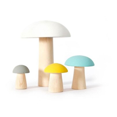 Briki Vroom Vroom Decorative Wooden Mushrooms - Set of 4-listing