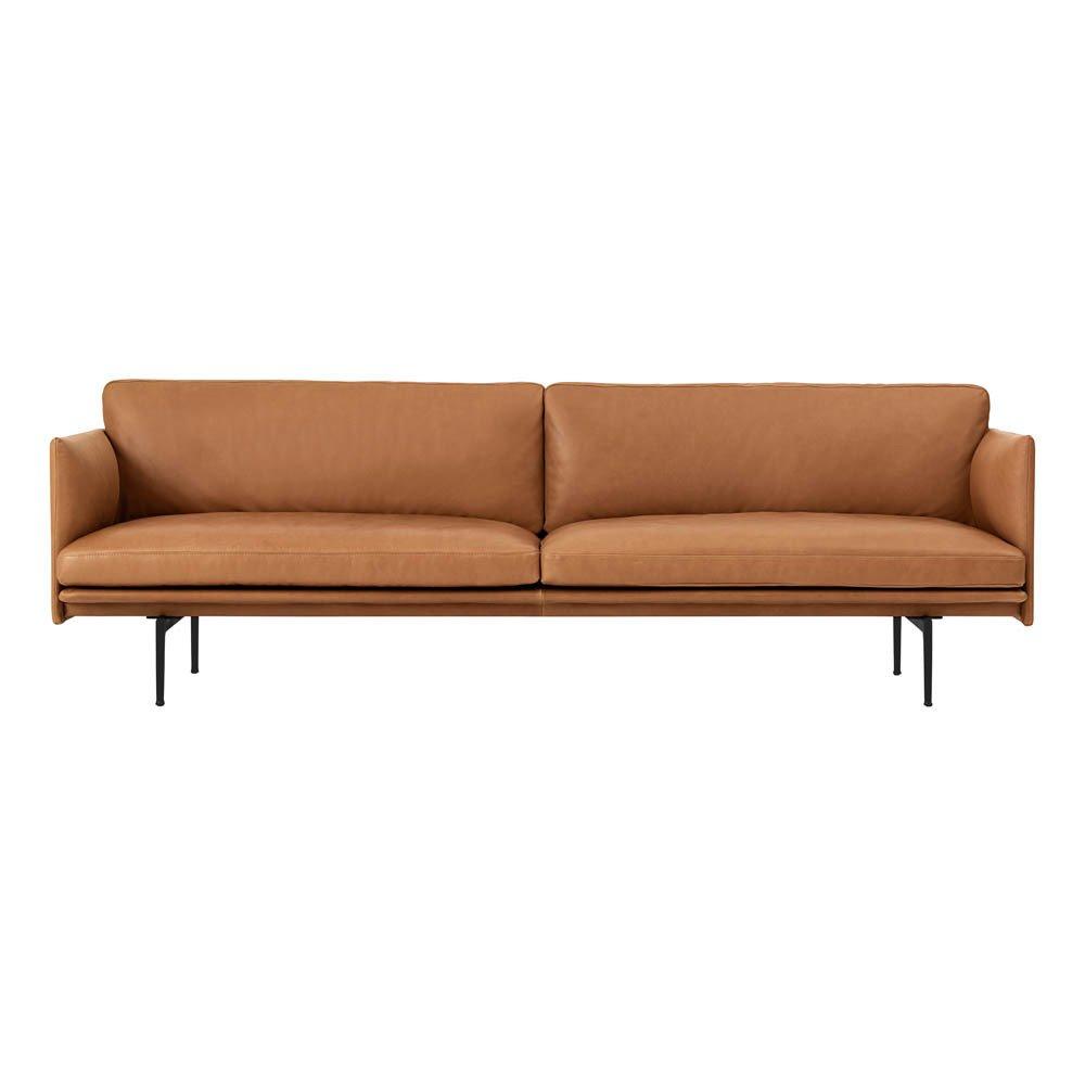 3-er Sofa Outline aus Leder Cognac-Farbe Muuto Design Erwachsene