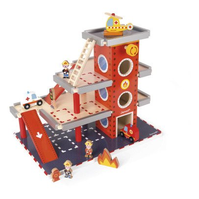 Janod Wooden Fire Station With Accessories-listing