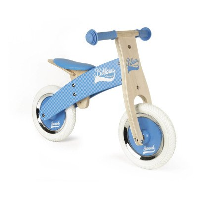 Janod Blue Checkerboard Pushbike With Adjustable Saddle-listing