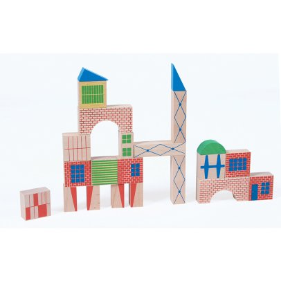 Moulin Roty Town Construction Block Game - 40 Pieces & 1 Poster-listing