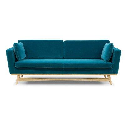 Divano 3 posti Cannage - Velluto Blu marino Red Edition Design