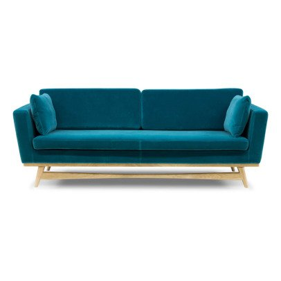 Red Edition Sofa 210 - Velvet Three-Seater With Oak Base-listing