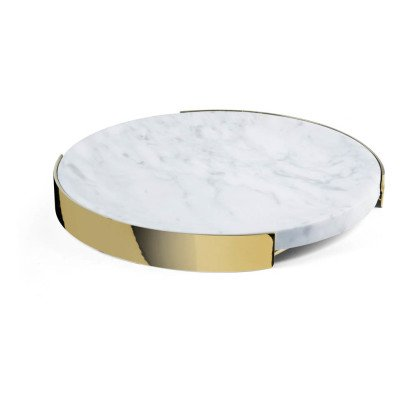 Red Edition Round Marble and Brass Table Centre Tray-listing