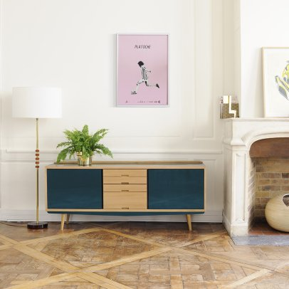 Red Edition Solid Oak Sideboard-listing
