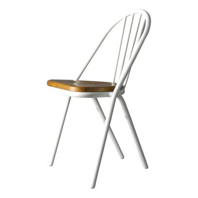 DCW Editions Chaise Surpil Gras cadre blanc, assise en bois-product
