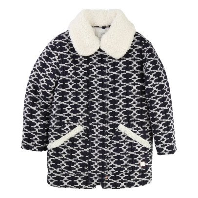 CARREMENT BEAU Faux Fur Jacquard Coat With Removable Collar-listing