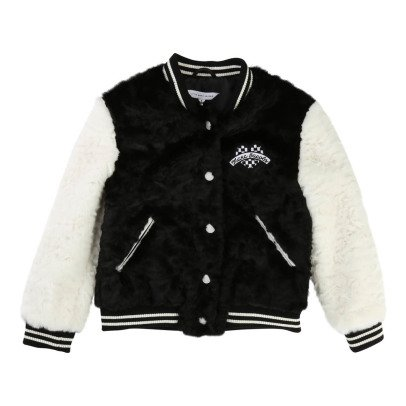 Little Marc Jacobs Heart Patch Faux Dur Basketball Jacket-listing