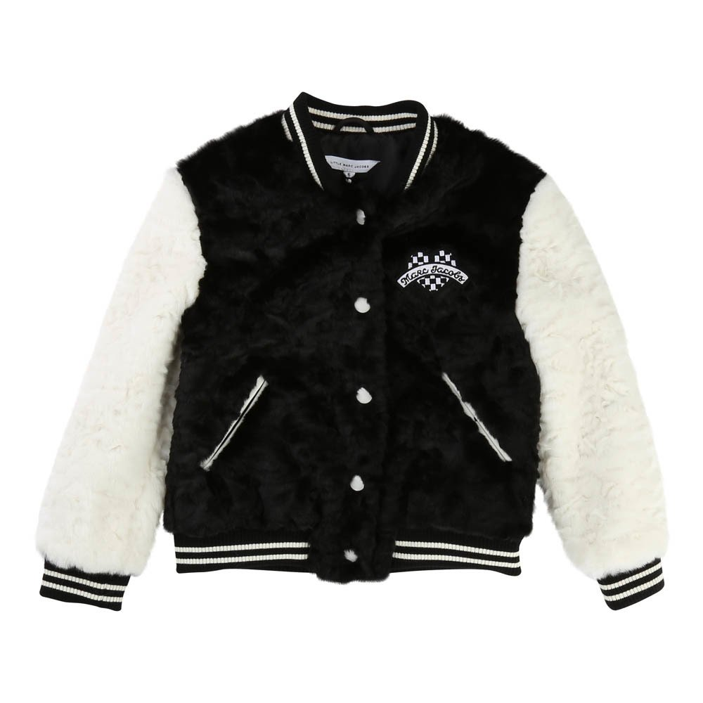 Heart Patch Faux Dur Basketball Jacket-product