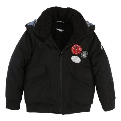 Little Marc Jacobs Badge Sherpa Lined Down Jacket-listing