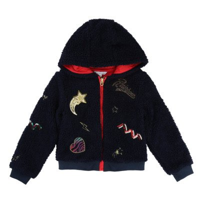 Little Marc Jacobs Patch & Embroidered Faux Fur Sweatshirt-listing