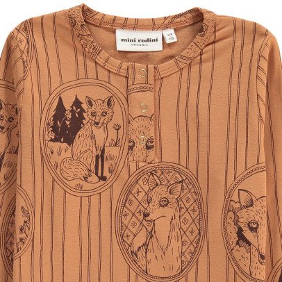 Mini Rodini Fox Organic Cotton Popper T-Shirt-listing