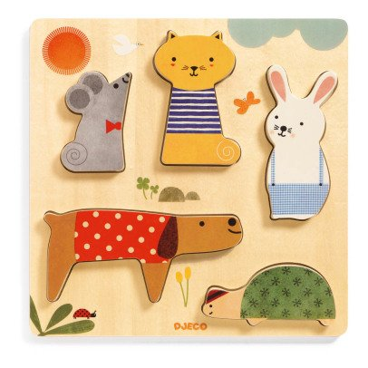 Djeco Puzzle animaux Woodypets - 5 pièces-listing