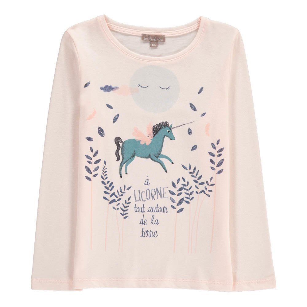 t shirt licorne rose poudr emile et ida mode b b enfant. Black Bedroom Furniture Sets. Home Design Ideas