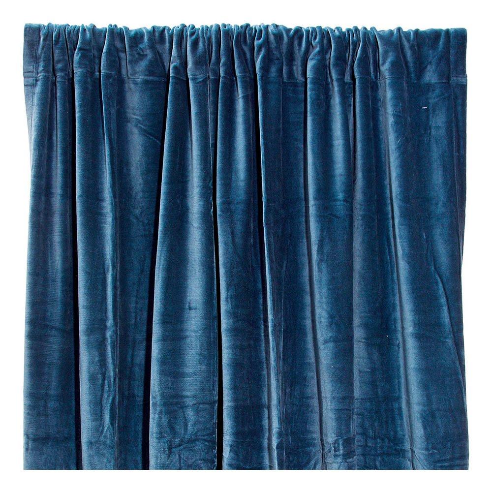 rideau occultant en velours de coton bleu p trole liv interior. Black Bedroom Furniture Sets. Home Design Ideas