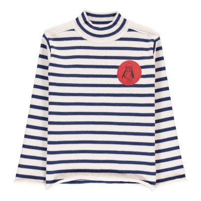 Bobo Choses Pull Col Montant Coton Laine Rayé-listing