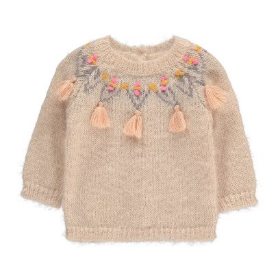 Louise Misha Edgard Buttoned Back Pompom Embroidered Jumper-product