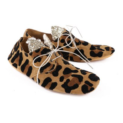 Anniel Glitter Leopard Ear Suede Derbie Shoes-listing