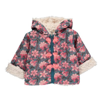 Louise Misha Mexico Fur Lined Floral Hooded Coat-listing