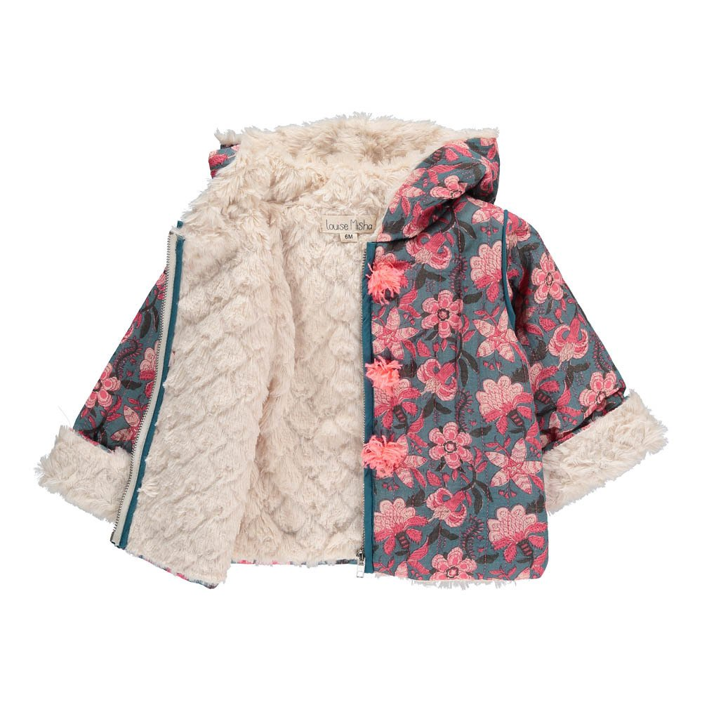 Mexico Fur Lined Floral Hooded Coat-product
