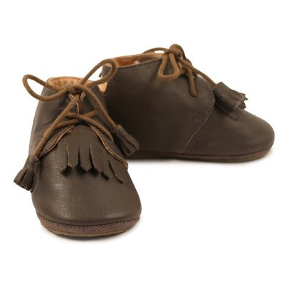 Easy Peasy Mexip Fringed Lace-Up Leather Slippers-listing