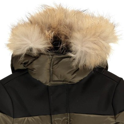 Gertrude + Gaston Little Henry Fur Hooded Down Jacket With Removable Sleeves-listing