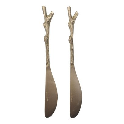 Smallable Home Bamboo Brass Butter Knives - Set of 2-listing