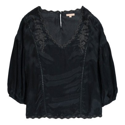 Louise Misha Kalia Embroidered Cupro Blouse - Teen & Women's Collection-listing