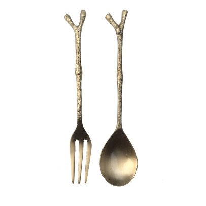 Smallable Home Bamboo Brass Serving Cutlery-listing