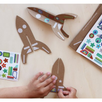 Pirouette Cacahouète Build Your Own Cardboard Rocket With 120 Stickers - Set of 4-listing