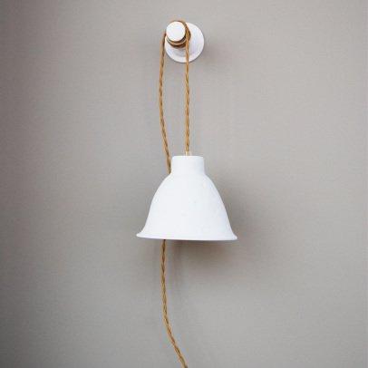 Corinthe Mat Porcelain Lamp, D14cm Cord 3m White Alix D. Reynis